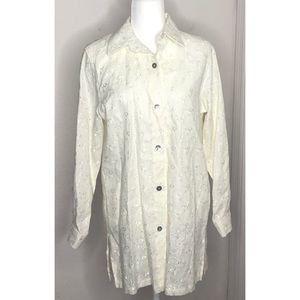 20 South Ivory 100% Linen Long Eyelet Top
